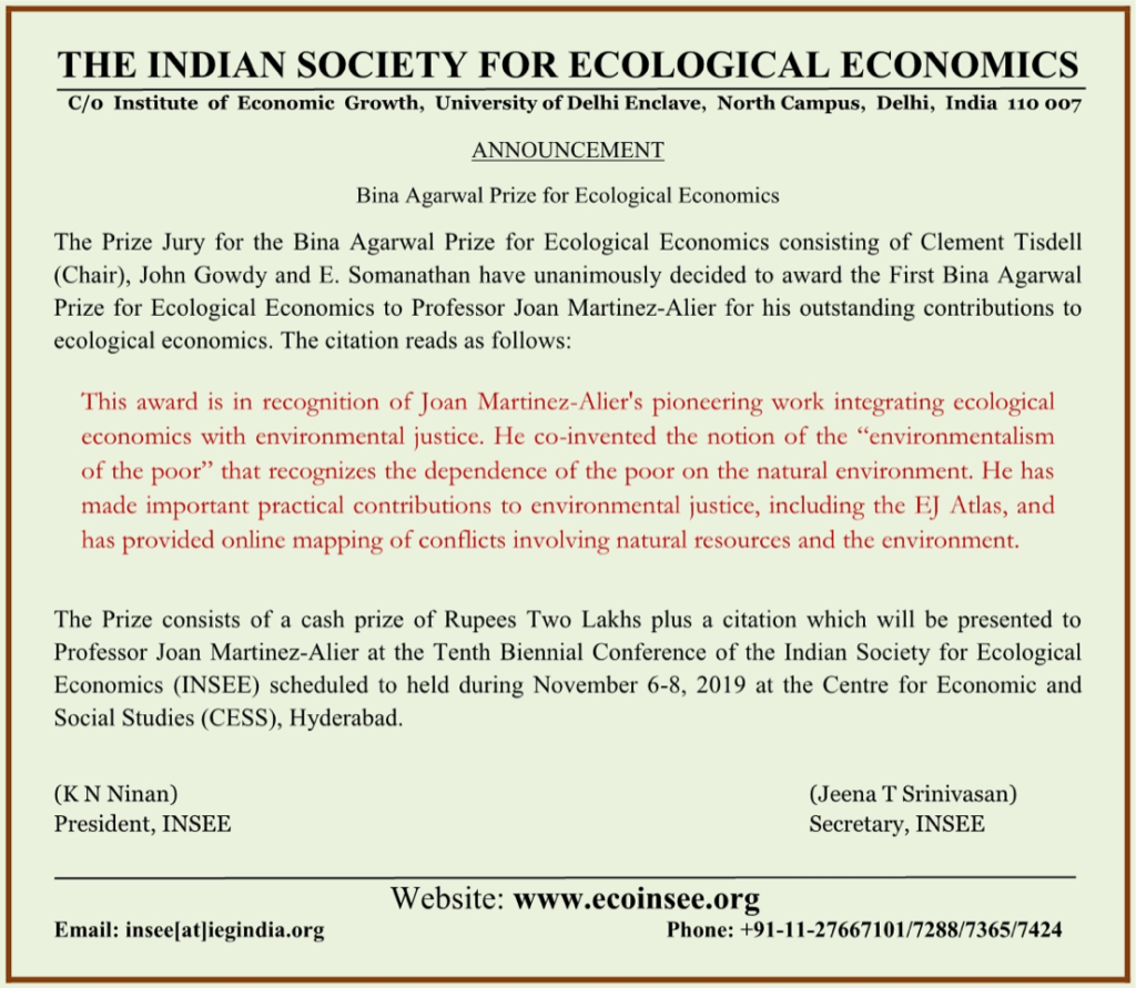 Professor Joan Martinez-Alier is Winner of the First Bina Agarwal Prize for Ecological Economics